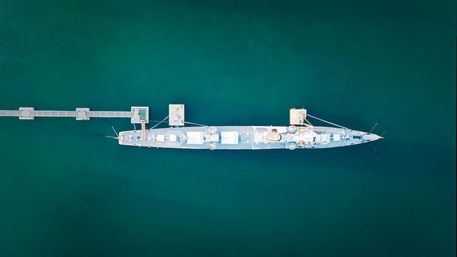 Vertical aerial photography of warship