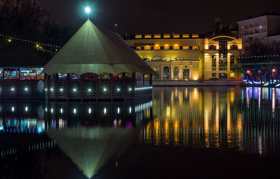 Russia, Moscow, Chistye Prudy, the restaurant is Clean ponds, a Park Architecture Arrival Building Exterior Built Structure Business Finance And Industry Christmas Tree City History Horizontal Igniting Illuminated Night No People Outdoors Reflection Russia, Moscow, Chistye Prudy, The Restaurant Is Clean Ponds, A Park Sky Tradition Travel Travel Destinations Water