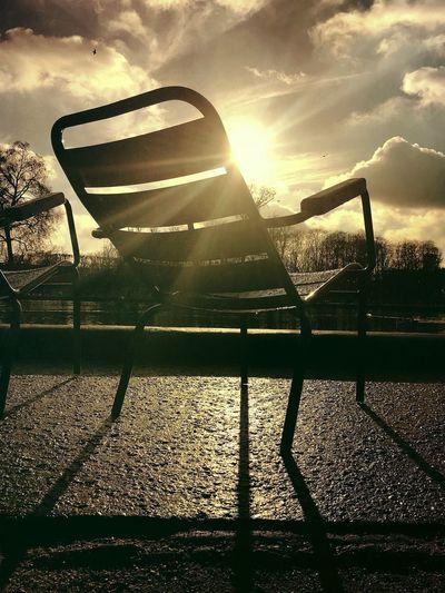 Tuileries Jardin Paris Paris, France  Garden Park Chair Sunlight Sunbeam Sky Sun No People Tranquility Nature Shadow Day Water Outdoors