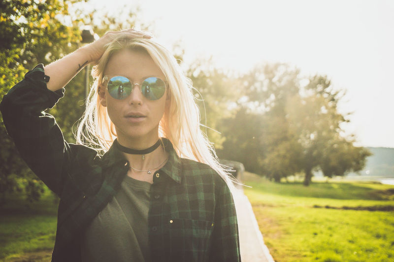 Adult Adults Only Day Eyeglasses  Grass Human Body Part Nature One Person One Woman Only Only Women Outdoors People Portrait Sky Sunlight Tree Women Young Adult Uniqueness