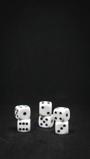 Black Background Chance Competition Copy Space Dice Gambling Leisure Games Luck No People