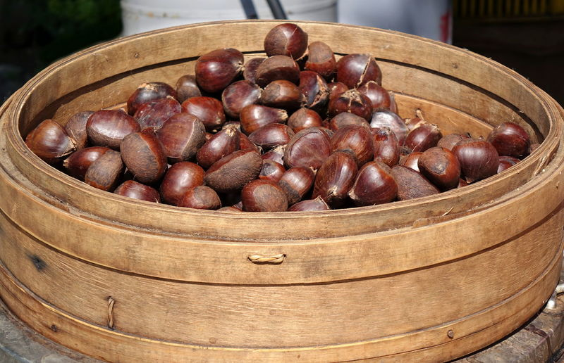 Steamed chestnuts for sale in Taiwan Chestnuts Chinese Food Nuts Tree Nuts Bamboo Steamer Healthy Eating Nutritious Food Organic Food Snack Food Steamed Food
