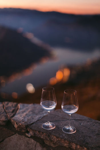 two wine glasses at sunset Alchol Authentic Moments Champagne Champagne Glasses Martini Sunset_collection Alchohol Alcohol Authentic Beauty In Nature Close-up Day Drink Landscape Mountain Nature No People Outdoors Sunset Sunsets Two Glasses Wine Wineglass