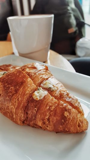 French Croisant and hot beverage Food And Drink Food Food Photography Foodie Foodpic Foodeyeem Croissant Coffee Coffee Shop Coffee Cup Croisant Con Bechamel Tea Time
