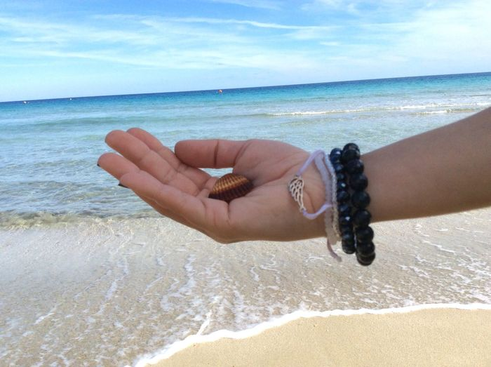Sea Shells Girl Holding Sea Shell Hand Blue Sea Horizon Over Water Sea Water Water