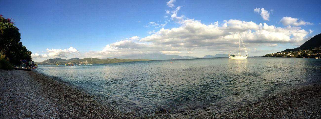 Panorama Wavy Sea Boat