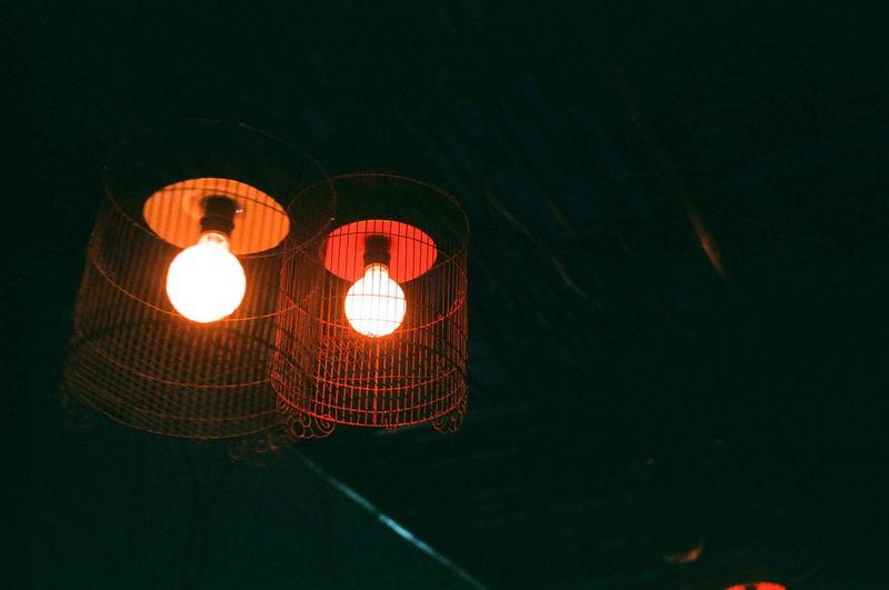 Low Angle View Of Illuminated Lantern At Night