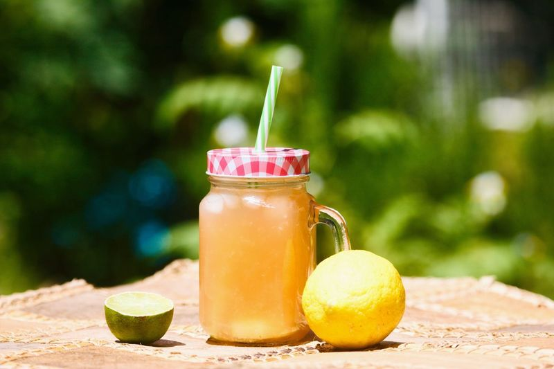 Lemonade Drinking Straw Drink Healthy Eating Food And Drink Refreshment Drinking Glass Freshness Fruit Table Smoothie Milkshake No People Focus On Foreground Blended Drink Food Outdoors Citrus Fruit Close-up Day Healthy Lifestyle Cold Temperature Herb Cocktail Mint Leaf - Culinary Refreshment