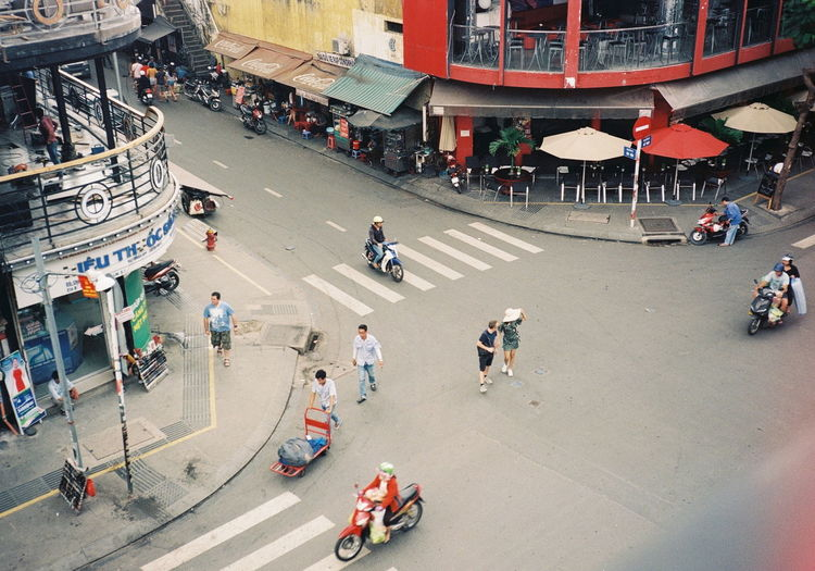 Crossroads City Crowd Group Of People Beach Men Women High Angle View City Life Building Exterior Architecture