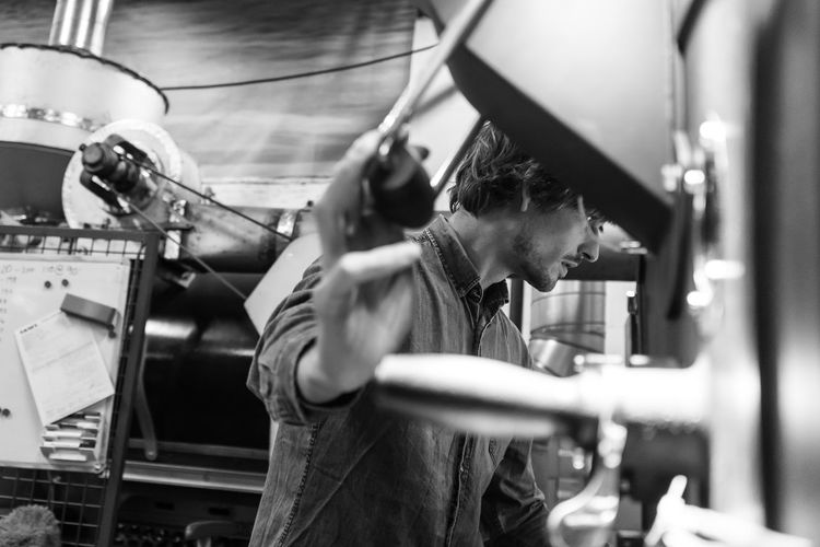 Coffee roaster Young Adult Working Coffee Roasting Blackandwhite