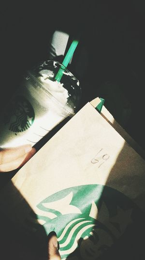 Starbucks is my lover.♡ Starbucks Coffee Starbucks ❤ STLYE.  My Unique Style Low Section Shadow Focus On Shadow Cleaner Long Shadow - Shadow First Eyeem Photo