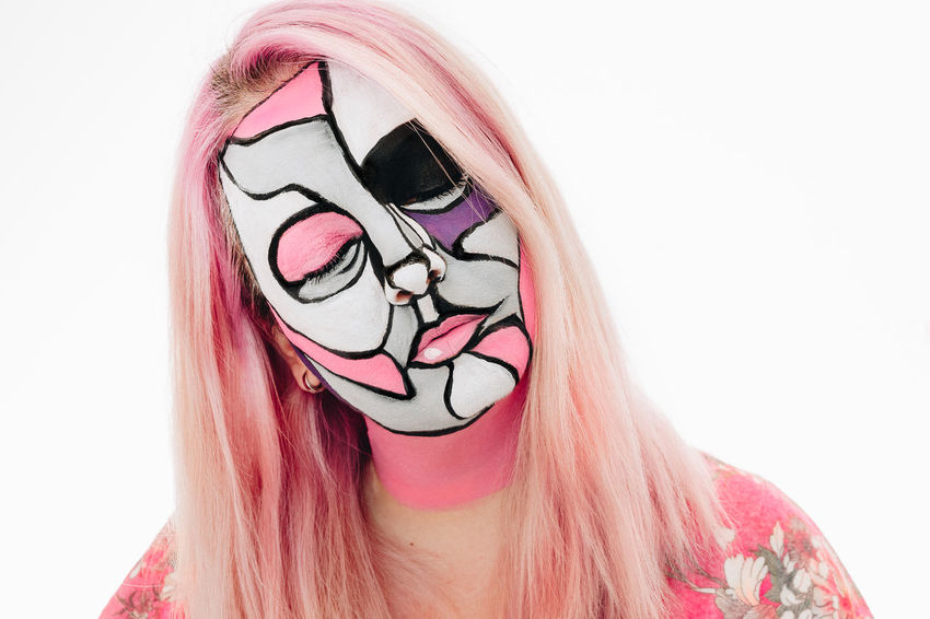 Face Paint Face Painting Face Painted Pink Pink Color Eyes Closed  One Person One Woman Only Woman White Background Human Face Portrait Headshot Women Close-up Facial Mask - Beauty Product Lipstick Ceremonial Make-up Eye Make-up Make-up Pink Hair Disguise Eyeshadow Stage Make-up