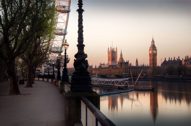 Long exposure taken at sunrise in London. Architecture Architecture Big Ben Big Ben, London Building Exterior Built Structure Business Finance And Industry City Cityscape Day Landscape Light London Eye No People Outdoors Sky Sunrise Tower Travel Destinations