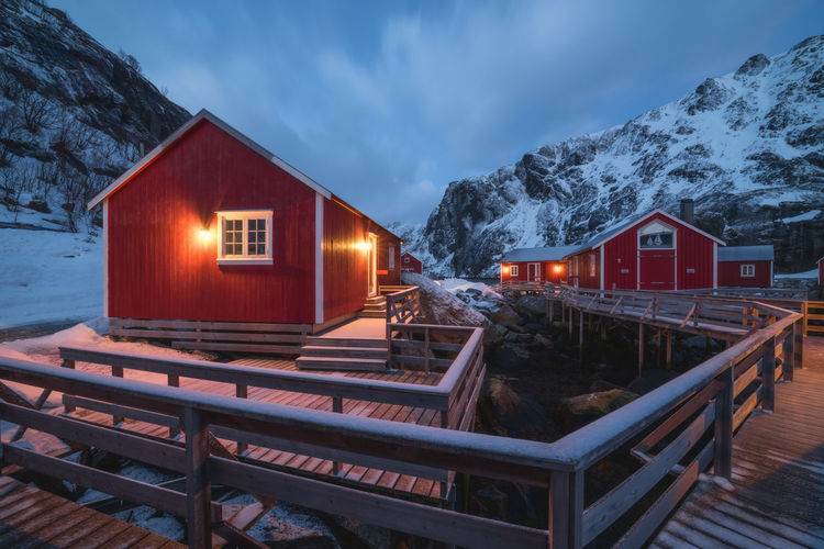 The little village of nusfjord at the blue hour