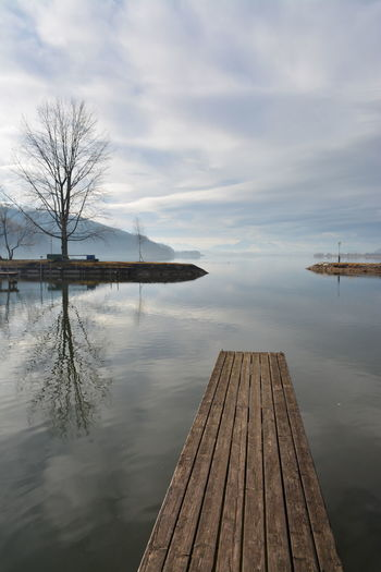 Wallersee in January 2016 Austria Beauty In Nature Boardwalk Cloud - Sky Day Lake Nature No People Outdoors Pier Scenics Sky Tranquil Scene Tranquility Wallersee Water Wood - Material
