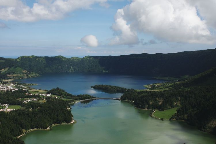 Landscape Water Outdoors Cloud - Sky Sky Lake Forest Tranquility Mountain Beauty In Nature Nature Horizon Over Water Blue Blue Sky Lake View Mountain View Green Green Water Blue Water Lakeshore Azores Azores, S. Miguel Cete Cidades View From Above View From The Top