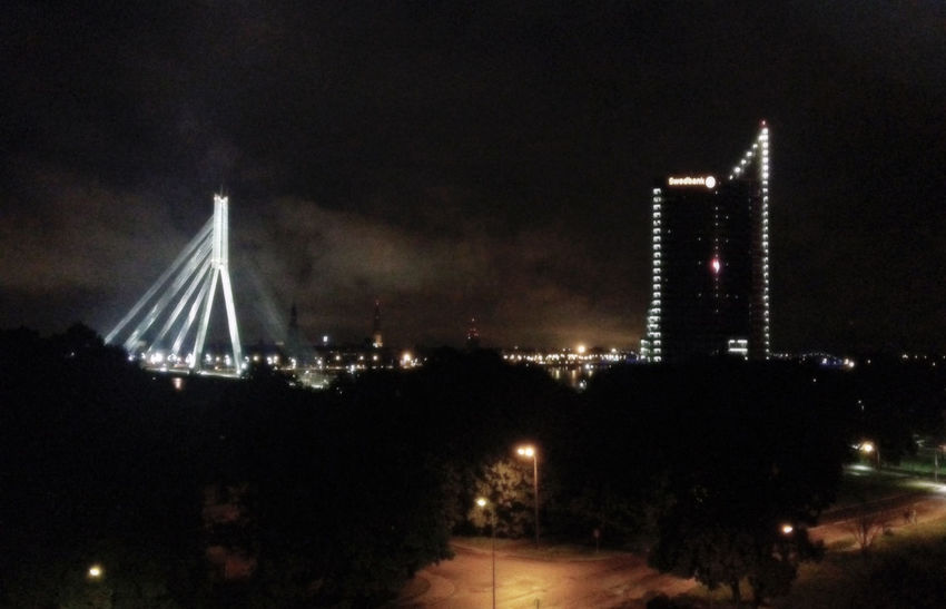 Bridge Capital Capital City City Cityscape Engineering Latvia Lighting Equipment Night Riga Saulesakmens Street Light Vanšutilts