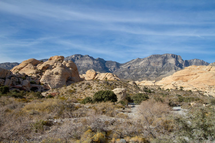 Rock formations on landscape against sky. red rock canyon, nevada