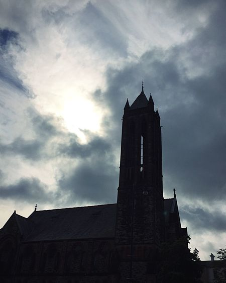 Drama. Church Northern Ireland Belfast University Road Tower Cloud History Cloudy Medieval Dramatic Sky Architecture Gothic Atmospheric Mood Building Exterior Faith Religion Low Angle View Tall - High Ireland