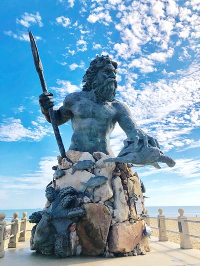King Neptune Statue Art And Craft Human Representation Sculpture Sky Cloud - Sky Outdoors Water No People Day