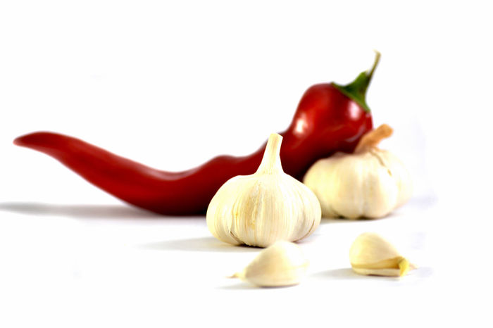 Paprika and garlic Agriculture Close-up Closeup Cuisine Diet Eating Farming Food Fresh Fruit Garlic Healthy Eating Kitchen Natural Nutrition Organic Paprika Raw Red Selective Focus Spice White Background