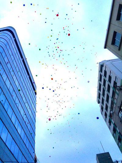 Balloons in the sky Parade Pride Tokyo Shinjuku City Building Color Balloons Blue Sky