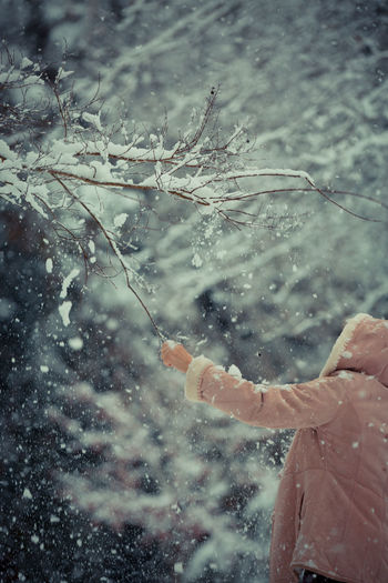 Beauty In Nature Close-up Cold Temperature Day Nature One Person Outdoors People Snow Snowing Tree Weather Winter