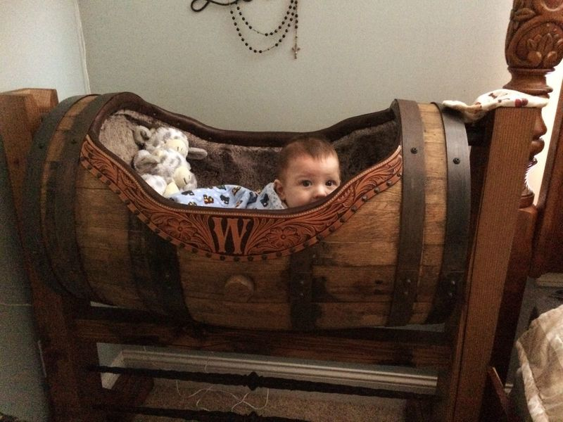 Whiskey Handmade Baby Cradle Looking At Camera Home Interior Indoors  Childhood Sofa Domestic Animals Relaxation Portrait Animal Themes Crib Pets Mammal One Person Day People Whiskey Barrels Babycrib Lieblingsteil