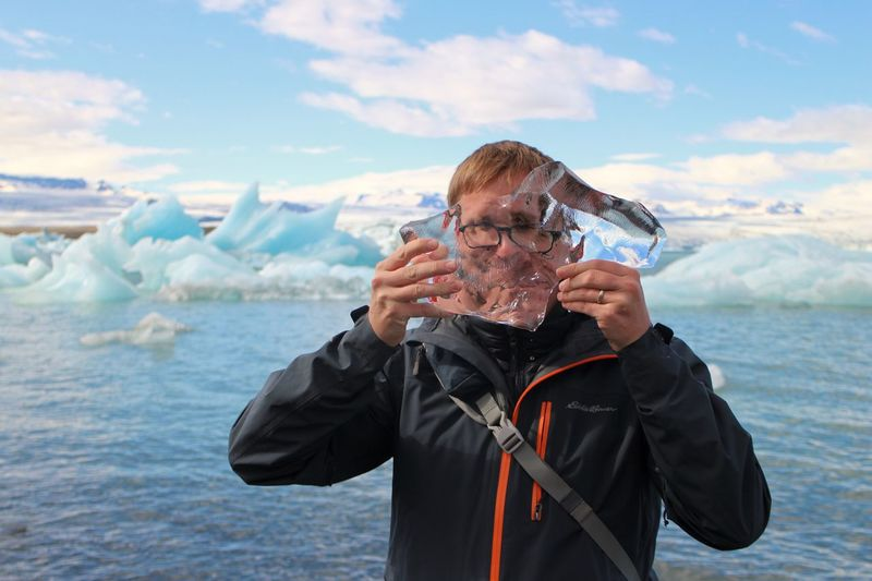 Icebergs Ice Block Ice Lagoon Iceland Water One Person Sea Leisure Activity Real People Lifestyles The Portraitist - 2019 EyeEm Awards Nature Outdoors