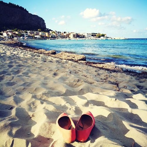 Beach Sand Sea Water Nature Pair Summer Vacations Tranquility Horizon Over Water Protection Outdoors Sky No People Beauty In Nature Low Section Ballerines Shoes Relax Relaxing Mondello Sicily Sicilia Shadow Sunglasses Sunlight Scenics Day