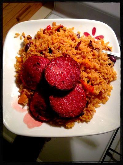 Dinner Cooked Salami Moro De Habichuelas Happy