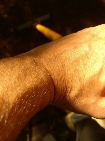 Hard Work Holding Landscaping Manual Labor Outdoors Person Personal Perspective Rake Unrecognizable Person Work Wrist
