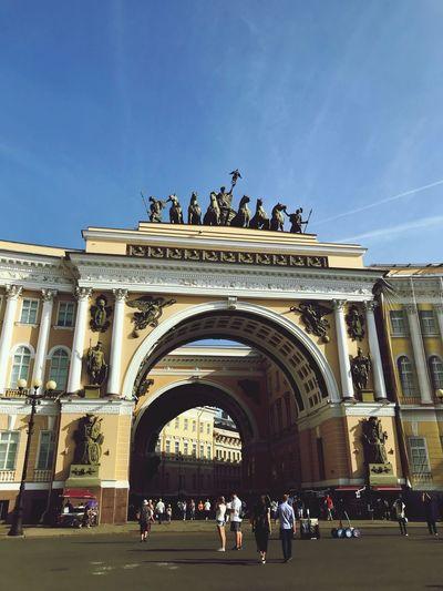 Saint Petersburg Built Structure Architecture Sky Group Of People Building Exterior Crowd The Past History Travel Destinations City Arch Tourism Building Travel