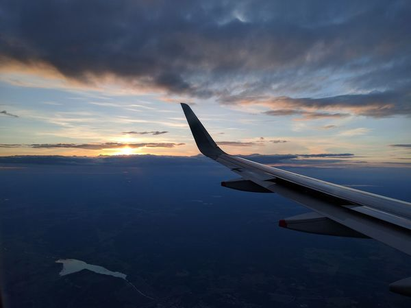 Aerial View Aircraft Wing Beauty In Nature Cloudscape Dramatic Sky Mode Of Transport Orange Color Stockholm Sunset Sweden Tranquil Scene Water