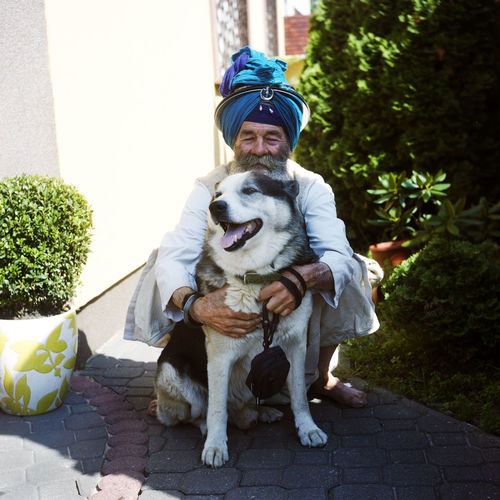 Nahim with his best friend Traditional Clothing Warsaw Animal Themes Best Friends Day Dog Domestic Animals Film Photography Happiness Lifestyles Looking At Camera One Animal Outdoors People Pets Portrait Real People Sikh Sikh Symbol Sikhism Sikhlife EyeEmNewHere Connected By Travel