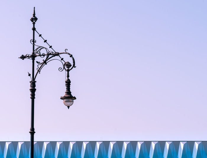 Minimalism Minimalistic Minimalist Architecture Abstract Futuristic Art And Craft Street Light Street Lamp Lamp Modern Lighting Equipment No People Clear Sky Day Sky Blue Low Angle View Nature Outdoors Metal Sunlight Copy Space Street Close-up Pattern Built Structure Hanging Pink Color Spire