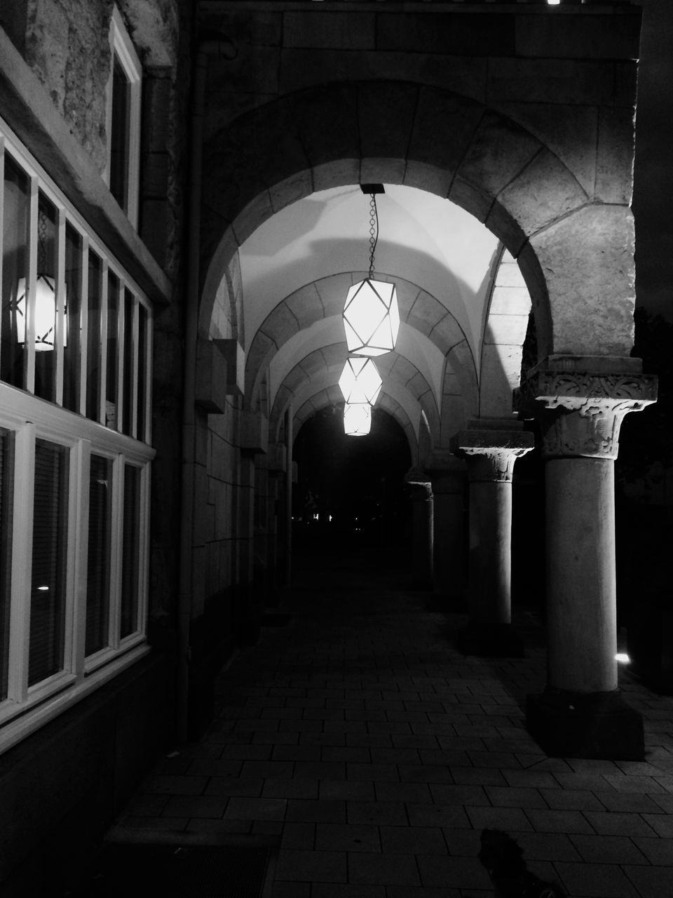 the way forward, arch, corridor, architecture, illuminated, built structure, indoors, night, no people