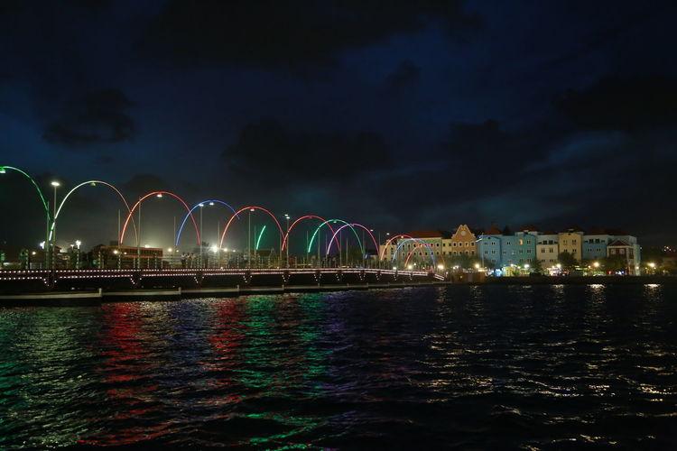 Architecture Built Structure City Illuminated Long Exposure Night No People Otrabanda Outdoors Ponton Bridge Curacao Sky Water Waterfront
