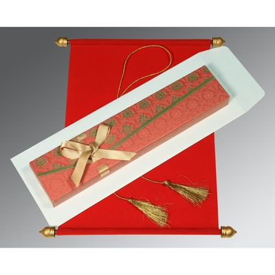 Delight your guests with the royal Scroll Wedding Cards made out of fine velvet paper. The whimsical hues of red color furthermore exaggerate the beauty of this wonderful wedding card. Not only the wedding card but the box covering it has been beautified with an alluring touch of art. Buy This cards here @ https://www.a2zweddingcards.com/card-detail/ASC-5016A or Visit here for more @ https://www.a2zweddingcards.com/scroll-invitations Scroll Cards Scroll Invitations, Scroll Wedding Cards Scroll Wedding Invitation Cards Scroll Wedding Invitations Wedding Cards Wedding Invitations