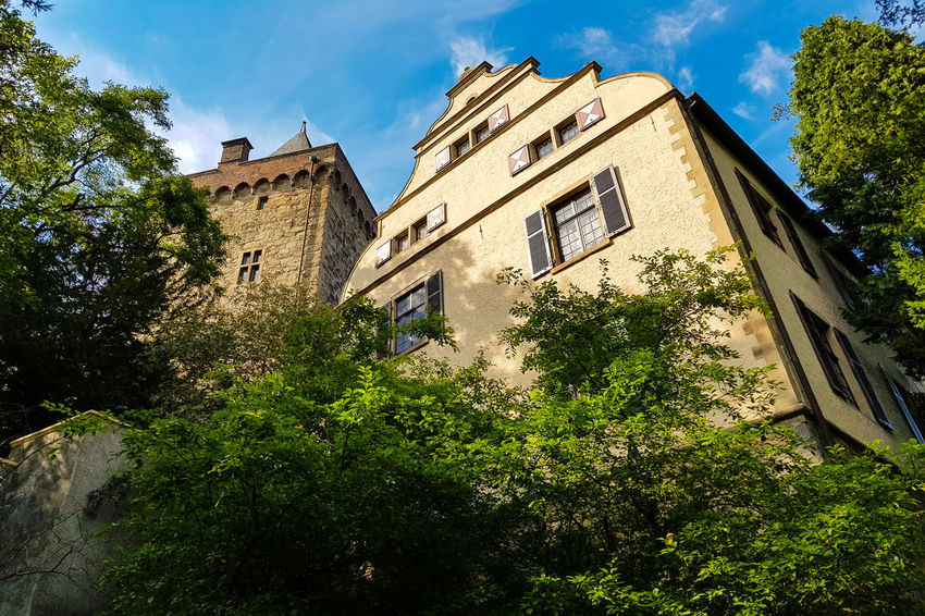 The medieval castle Schloss Landsberg in Germany Architecture Built Structure Building Exterior Plant Tree Building Low Angle View Sky Nature Day Growth No People Cloud - Sky Green Color Window Residential District Outdoors Sunlight The Past Old