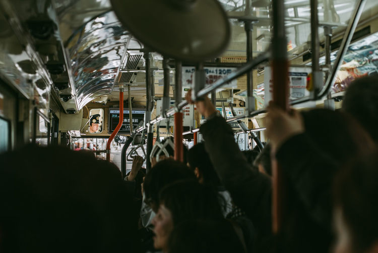 Bus Japan Large Group Of People Mirror Selective Focus Standing Transitional Moments Travel