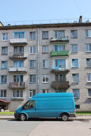 Russia Apartment Architecture Blue Building Building Exterior Built Structure Car City Clear Sky Day Housing Development In A Row Land Vehicle Mode Of Transportation Motor Vehicle Nature No People Outdoors Residential District Road Sky Small Transportation Window