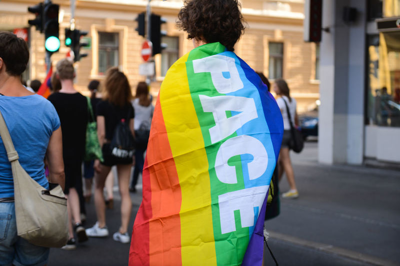 Rear view of man wearing rainbow flag during parade in city