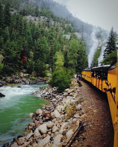 Train Tracks Train Nature Day Outdoors Motion Water Scenics Beauty In Nature Sky Tree River Mountain Rocky Mountains Silverton, Colorado Beautiful Nature