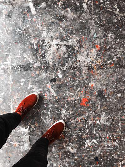 Splatter Paint Splattered Splat Paint Artists Studio Studio Artist Art Feet Low Section Human Body Part Human Leg Body Part Shoe Real People Standing Red