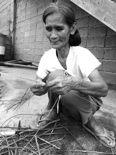 Taking Photos EyeEmNewHere Eyeem Philippines One Person Only Women Real People One Woman Only Outdoor Eyeemphotography Monochrome Photography Old Lady EyeEmbnw
