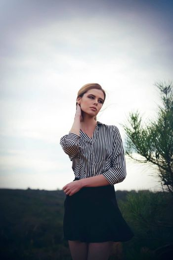 """""""silence"""" Portrait Of A Woman Fashion Photography Girl Modelphotography Modeling Portrait Young Adult Striped Standing Young Women Three Quarter Length One Person Beautiful Woman Casual Clothing Front View Real People Fashion Sky Lifestyles People EyeEmNewHere Love Yourself"""