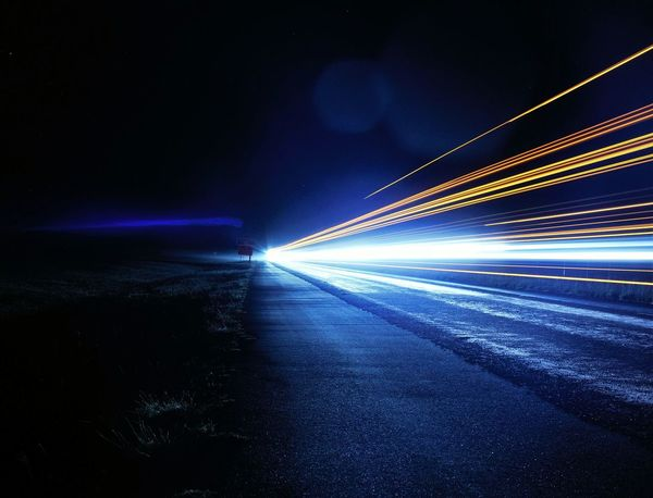 Night Illuminated Light Trail Long Exposure Transportation Blurred Motion Blue Motion Speed Digital Photography No People
