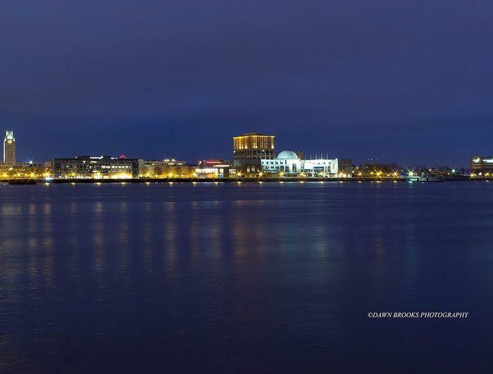 Nightphotography Penn's Landing Philadelphia CamdenNJ Purple Sky Bright Lights Blue Sky