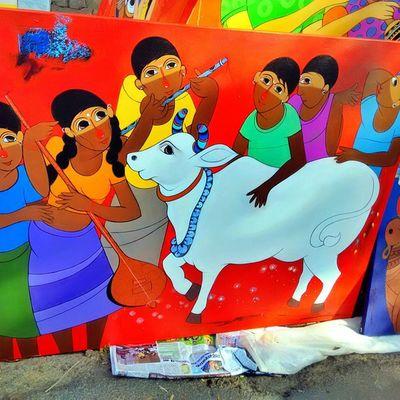 Chitrasanthe Art Artfair Color Colour Artfair Bangalore Painting Childhood Village Children India